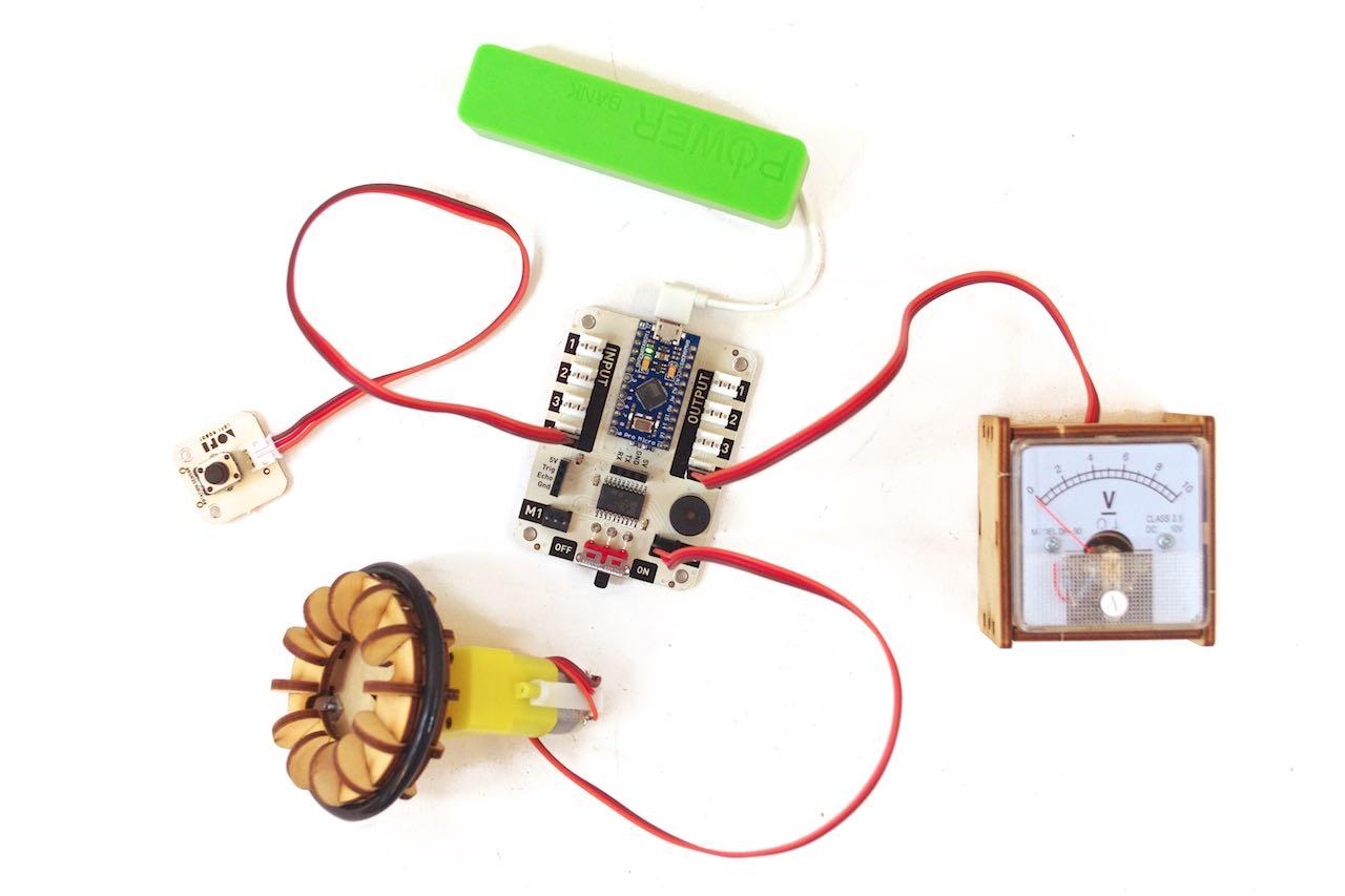 LOFI Brain Arduino dc motor voltage meter powerbank potentiometer